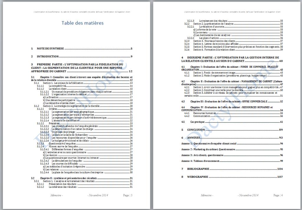 Aper u des prestations de transcription et frappe de documents - Exemple table des matieres ...